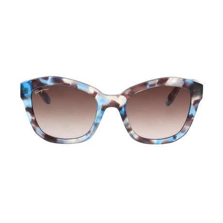 Ferragamo // Women's Butterfly Sunglasses // Azure Hanvana + Brown Gradient