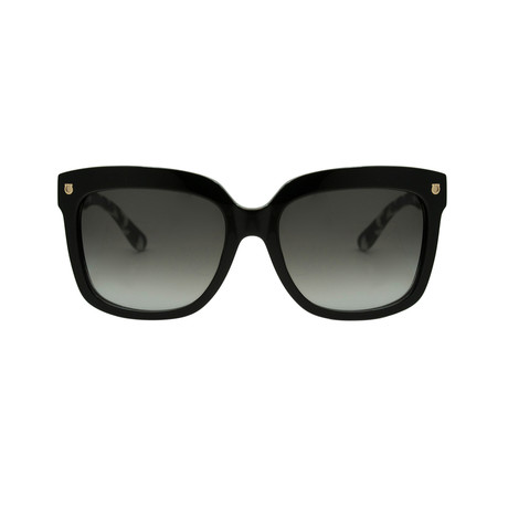 Ferragamo // Rounded Sunglasses // Black + Gray Gradient