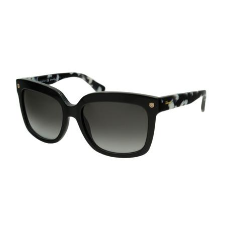 Ferragamo // Women's Rounded Sunglasses // Black + Gray Gradient