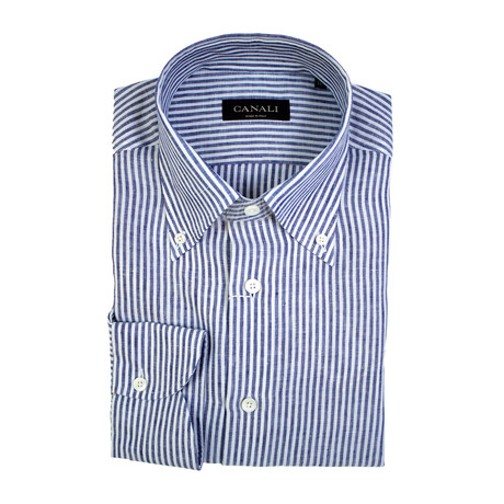 Striped Slim Fit Shirt // White + Blue (3XL)