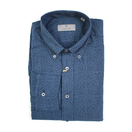 Patterned Slim Fit Shirt // Navy (XS)