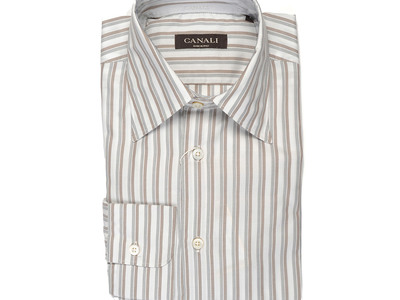 Canali Immaculate Suits, Shirts, & Shoes Striped Modern Fit Shirt // Brown + Gray (S) by Touch Of Modern - Denver Outlet