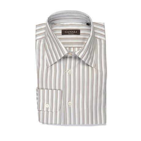 Striped Modern Fit Shirt // Brown + Gray (S)