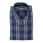 Patterned Plaid Slim Fit Shirt // Navy + Gray (XS)