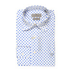 Stretch Fit Polka Dot Shirt // White + Blue (XS)