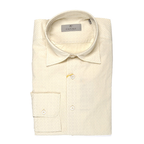 Patterned Slim Fit Shirt // Yellow (S)