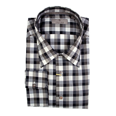Plaid Slim Fit Shirt // Brown + Gray (XS)