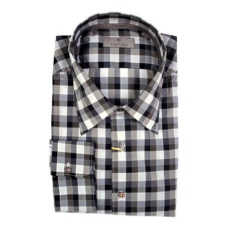 Plaid Slim Fit Shirt // Brown + Gray (S)
