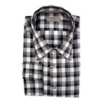 Plaid Slim Fit Shirt // Brown + Gray (S)