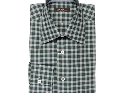 Photo of Canali Immaculate Suits, Shirts, & Shoes Plaid Modern Fit Shirt // Green + Gray (S) by Touch Of Modern