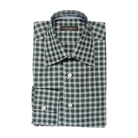 Plaid Modern Fit Shirt // Green + Gray (XS)