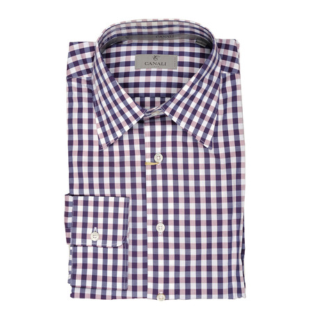 Plaid Modern Fit Shirt // Purple + Pink (XS)