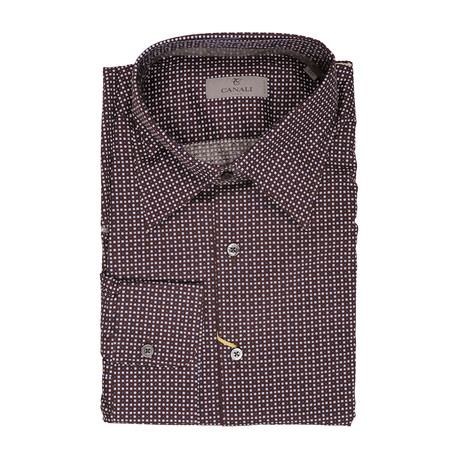 Patterned Slim Fit Shirt // Brown (XS)