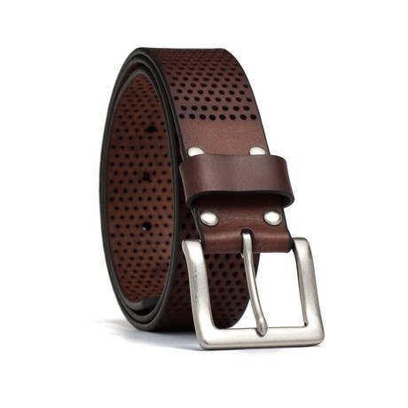 "Leather Perforated Belt // Brown (32"" Waist)"