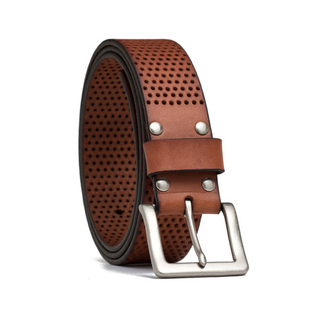 "Leather Perforated Belt // Cognac (32"" Waist)"
