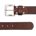 """Leather Perforated Belt // Brown (32"""" Waist)"""