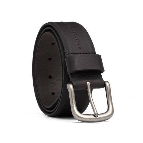 """Leather Center Stitch Belt // Black (32"""" Waist)"""