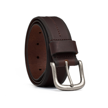 """Leather Center Stitch Belt // Brown (32"""" Waist)"""