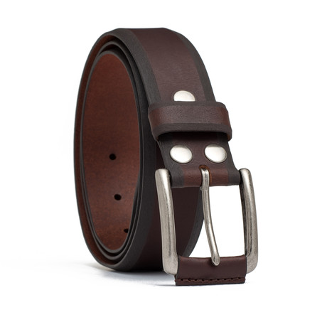 "Leather Wrapped Buckle Belt // Brown (32"" Waist)"