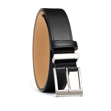 "Leather Belt with Metal + Leather Keepers // Black (32"" Waist)"