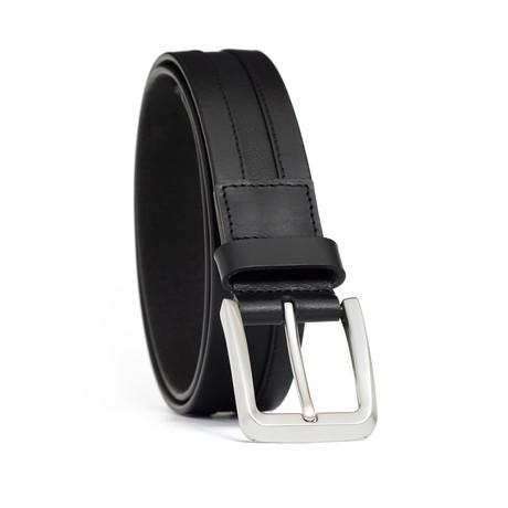 "Genuine Leather + Embossed Lizard Inlay Belt // Black (32"" Waist)"