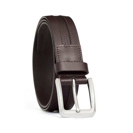 """Genuine Leather + Embossed Lizard Inlay Belt // Brown (32"""" Waist)"""