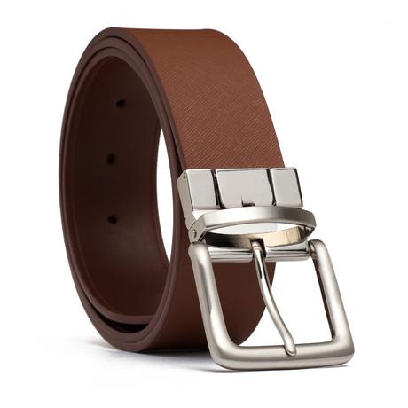 """Reversible Leather Belt // Cognac (32"""" Waist)"""