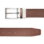"Reversible Leather Double Stitch Lizard Embossed Belt // Cognac (32"" Waist)"