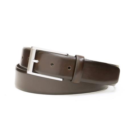 "Burnished Genuine Leather Belt // Brown (32"" Waist)"