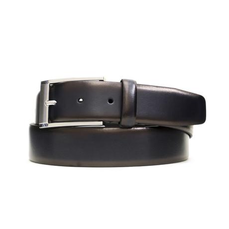 "Burnished Genuine Leather Belt // Navy (32"" Waist)"