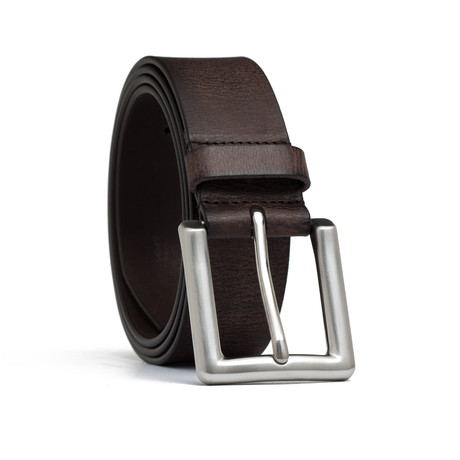 "Vintage Genuine Leather Belt // Brown (32"" Waist)"
