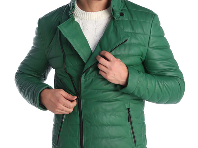 Photo of CLEARANCE: Outerwear We've Got You Covered Mason Leather Jacket // Green (S) by Touch Of Modern