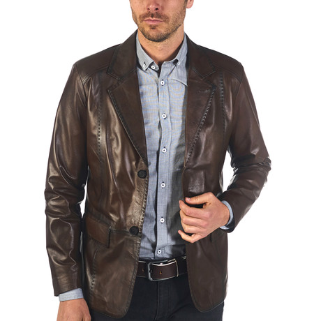 Shon Leather Jacket // Brown (XS)