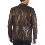 Shon Leather Jacket // Brown (XL)