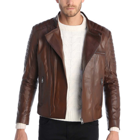 Bertram Leather Jacket // Brown (XS)