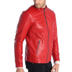 Lincoln Leather Jacket // Red (L)