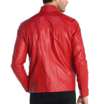 Lincoln Leather Jacket // Red (S)