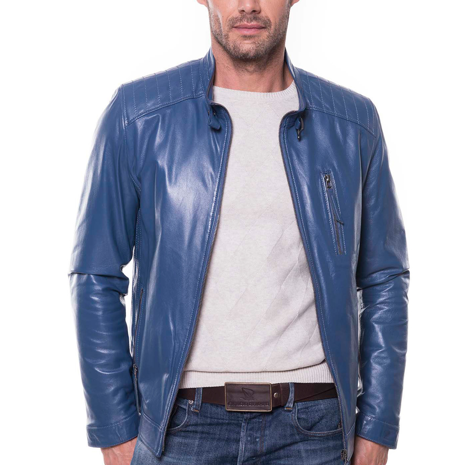 b9847ffa6 August Leather Jacket // Blue (XS) - Giorgio di Mare - Touch of Modern