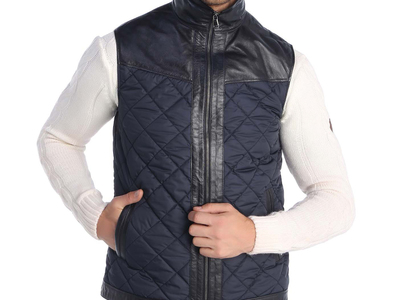 Giorgio di Mare Leather Moto Jackets Eldridge Leather Vest // Navy (S) by Touch Of Modern - Denver Outlet