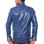 August Leather Jacket // Blue (L)