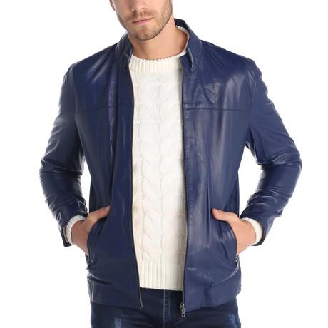 Geoffrey Leather Jacket // Blue (S)