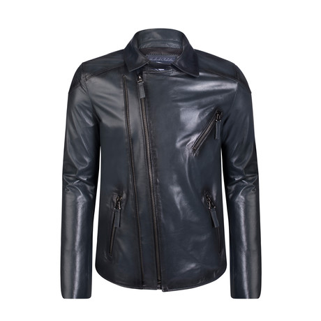 Peter Leather Jacket // Navy (S)