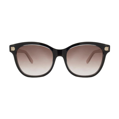 Ferragamo // Women's Rectangle Sunglasses // Crystal Black + Pink + Brown Gradient