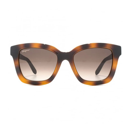 Ferragamo // Square Sunglasses // Tortoise + Floral Arms + Brown Gradient