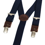 Skinny Clip-On + Leather Details // Navy + White Polka-Dots