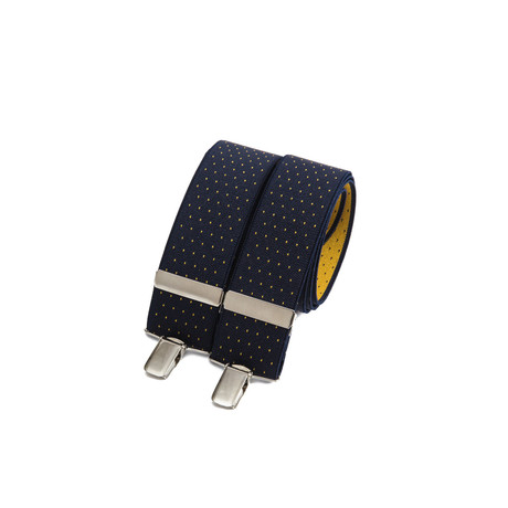 Wide Clip-On // Navy + Yellow Polka-Dots