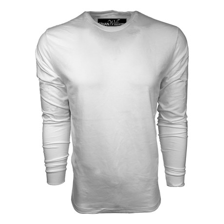 Healther Suede Long Sleeve Crew Neck // White (S)