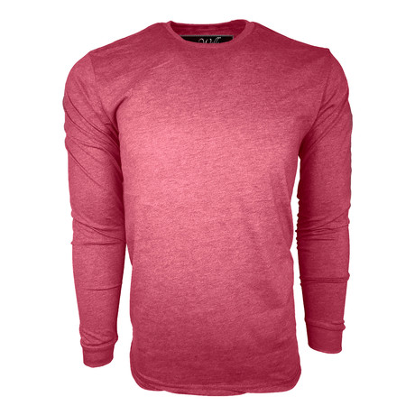 Healther Suede Long Sleeve Crew Neck // Burgundy (S)