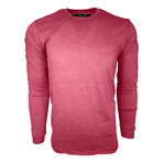 Healther Suede Long Sleeve Crew Neck // Burgundy (M)