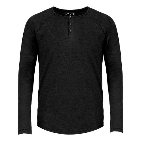 Long Sleeve Raglan Henley // Black (S)